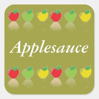 Frukt på burk för etikett för Applesauce hemlagad Fyrkantigt Klistermärke