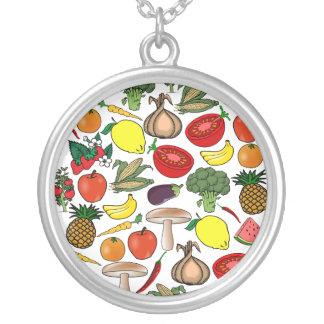 Frukt- & Veggieshalsbandet, väljer stil Silverpläterat Halsband