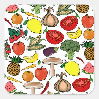 Frukt- & Veggiesklistermärkear Fyrkantigt Klistermärke