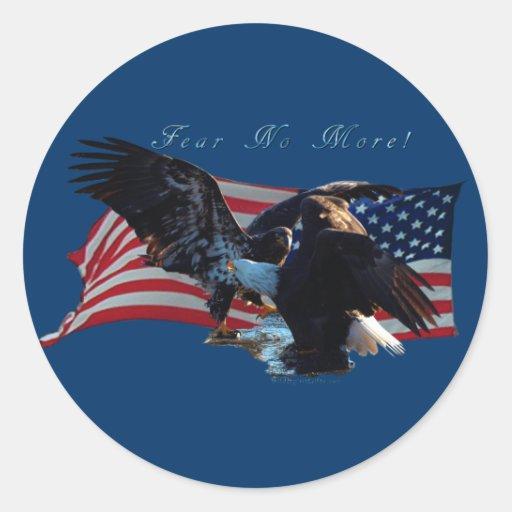 """""""Frukta inte mer! """"Eagle-/USflaggagåva Runda Klistermärken"""