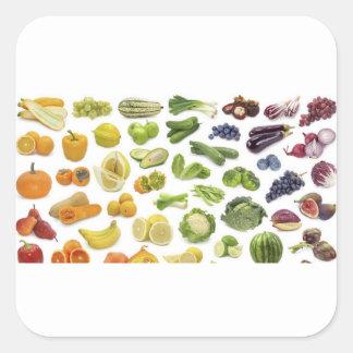 Frukter och Veggies! Fyrkantigt Klistermärke