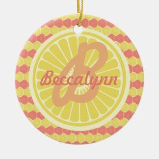 Fruktig citrus Monogram och namn Julgransprydnad Keramik