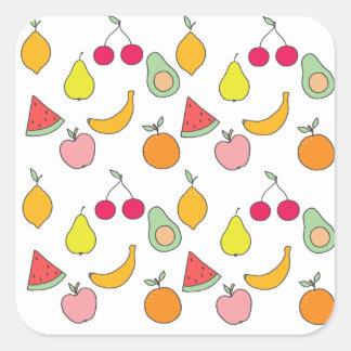 fruktmönster fyrkantigt klistermärke