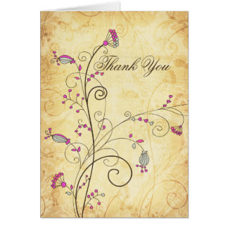 fuchsia blom- brölloptack för lantlig vintage hälsningskort