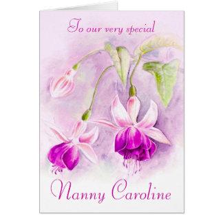 Fuchsia blom- purpurfärgat rosa hälsningskort