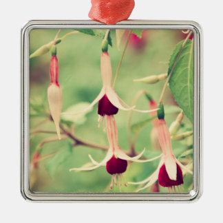 Fuchsia blommor julgransprydnad metall