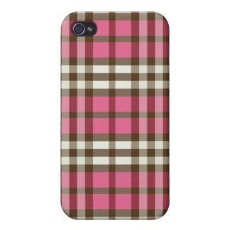 Fuchsia-/chokladpläd Pern iPhone 4 Cases