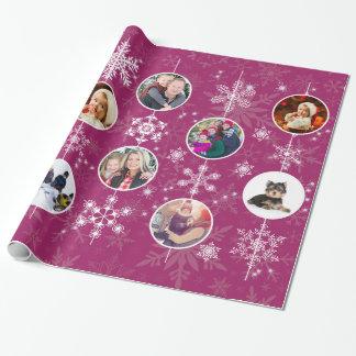 Fuchsia för foto för familj för julsnöflingor presentpapper