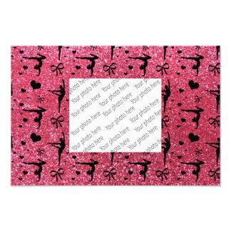 Fuchsia rosa gymnastikglittermönster fototryck