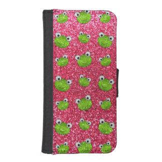 Fuchsia rosa mönster för grodahuvudglitter iPhone 5 plånbok skydd