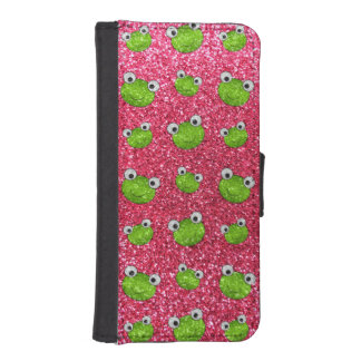 Fuchsia rosa mönster för grodahuvudglitter iPhone SE/5/5s plånboksfodral