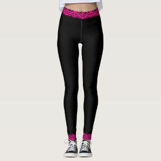 Fuchsia rosa & svart 4Tina Leggings