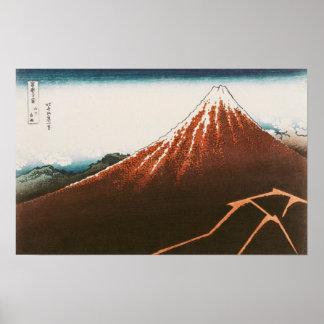 Fuji ovanför Lightning'en Poster