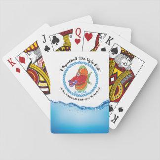 Ful fisk som leker kort spelkort