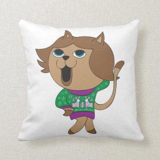 Ful katt för tecknad för jultröjaflicka kudde