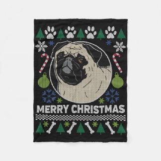 Ful tröja för mopsgod jul fleecefilt