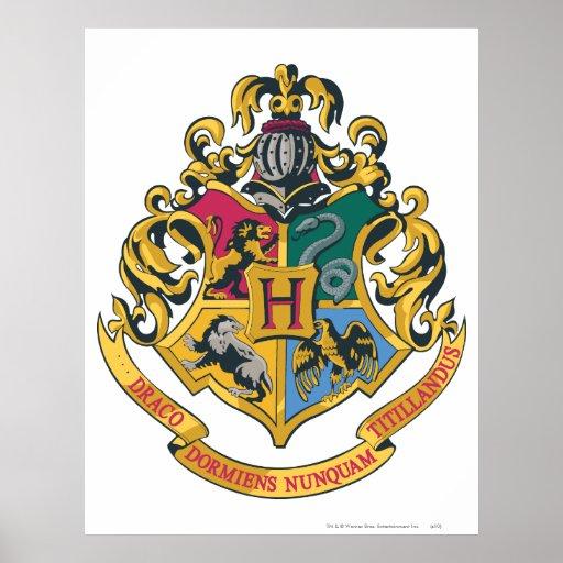 Full färg för Hogwarts vapensköld Affisch