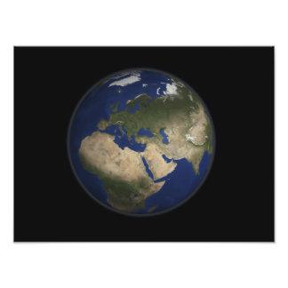 Full jord beskådar av afrika, Europa och mittet E Fototryck