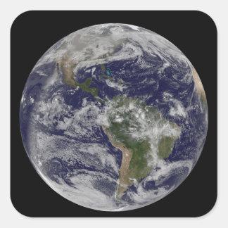 Full jordvisning Nordamerika och södra Amer 4 Fyrkantigt Klistermärke