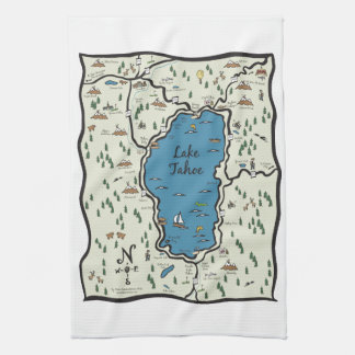 Full Lake Tahoe områdeskarta Kökshandduk