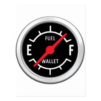 Full tank, tom plånbok vykort