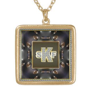 Fullföljande för diamant för Monogram SKF Guldpläterat Halsband