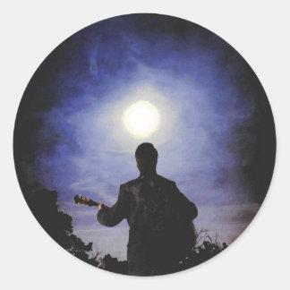 Fullmåne- & gitarrSilhouette Runt Klistermärke
