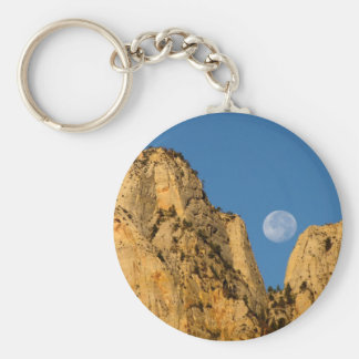 Fullmåne på den Zion soluppgången Rund Nyckelring