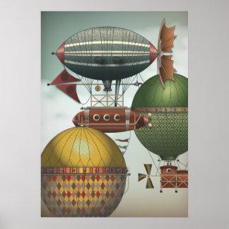 Fullsatt himmlar reser trafikerar Steampunk Airshi Poster
