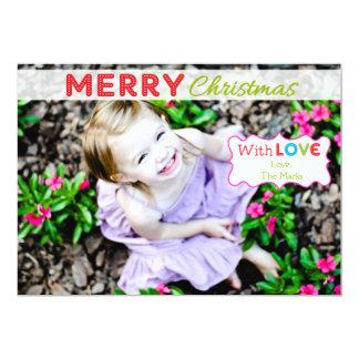 Fullt fotokort för nyckfull färgrik jul 12,7 x 17,8 cm inbjudningskort