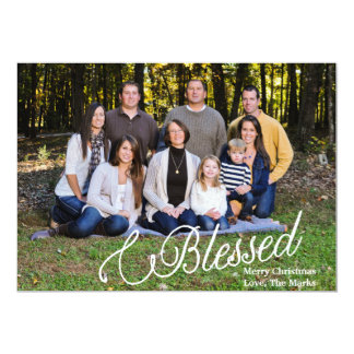 Fullt fotokort för välsignad jul 12,7 x 17,8 cm inbjudningskort