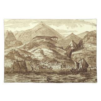Funchal Madeira beskådar hamnen Sepia-Tonat panora Bordstablett