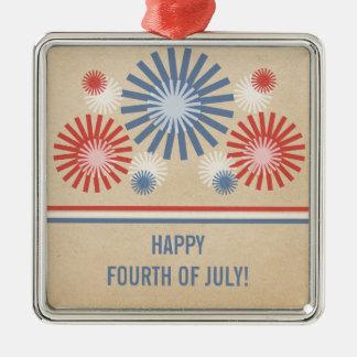 Funky 4th av den Juli fyrverkeri- och Julgransprydnad Metall
