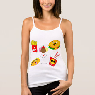 Funky på grafiskt snabbmat för trendKawaii stil T-shirts