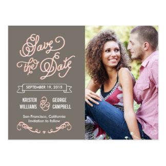 Funkyn skrivar bröllop spara datum vykort