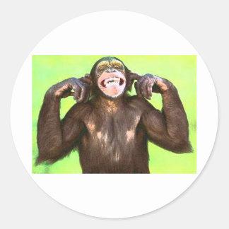 funny_monkey runt klistermärke