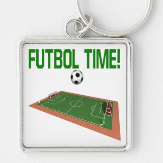 Futbol Time Fyrkantig Silverfärgad Nyckelring