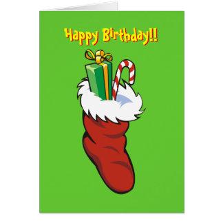 Fyllt kort för Santa strumpafödelsedag