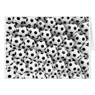 Fyllt med fotbollbollar hälsningskort