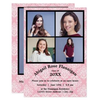 Fyra akademikert meddelande för fotoCollageDamast 8,9 X 12,7 Cm Inbjudningskort