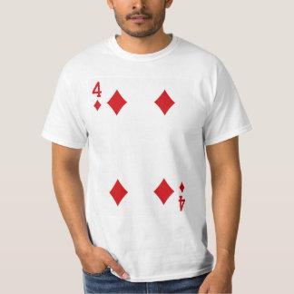 Fyra av diamanter som leker kortet tee