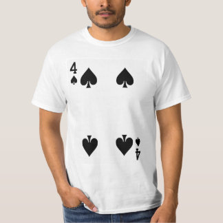 Fyra av spadar som leker kortet t-shirt