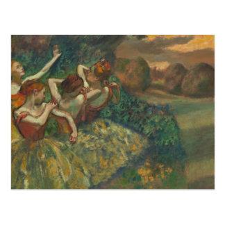 Fyra dansare Degas by vykortet Vykort