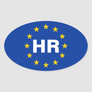 "FYRA Europeiska unionflagga för Kroatien ""timme"" Ovalt Klistermärke"