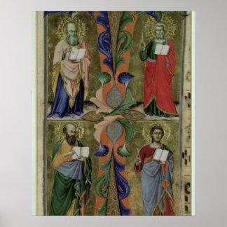 Fyra Evangelists, 14th århundrade (vellängpapper) Poster