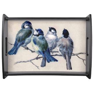 Fyra fåglar på en gren serveringsbricka