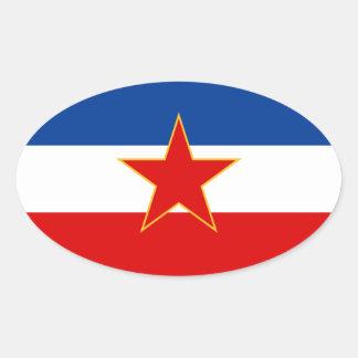 FYRA flagga av Jugoslavien (1945-1992) Ovalt Klistermärke