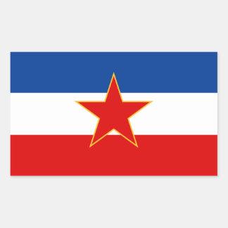 FYRA flagga av Jugoslavien (1945-1992) Rektangulärt Klistermärke