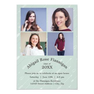 Fyra fotoCollagepilar - akademikert meddelande 12,7 X 17,8 Cm Inbjudningskort