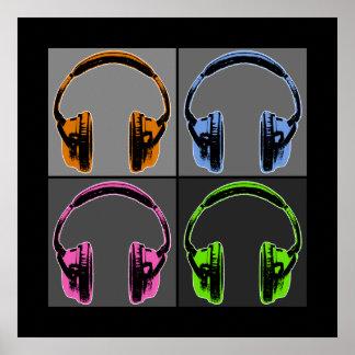 Fyra grafiska hörlurar poster